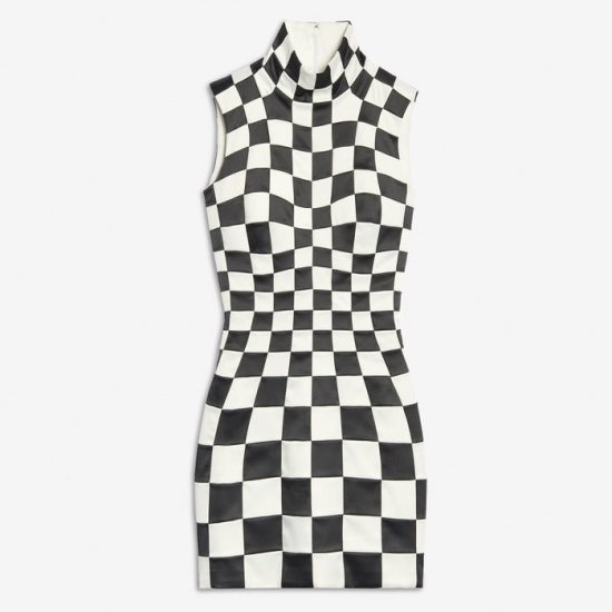 Balenciaga black and white 3D check dress as seen on Rihanna