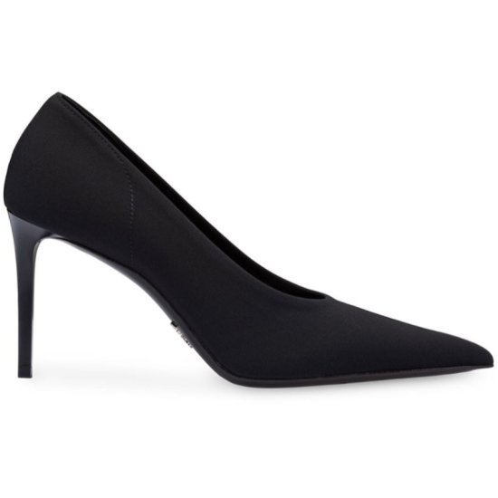 Prada classic neoprene pumps in black as seen on Rihanna