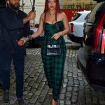 Rihanna checked green jumpsuit Dior, Azzedine Alaia mini tote, David Webb black enamel cuff, Etho Maria yellow diamond ring