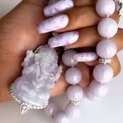 Sue Gragg purple jade necklaces as seen on Rihanna