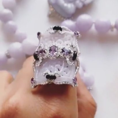 Sue Gragg purple jade and white diamond ring as seen on Rihanna