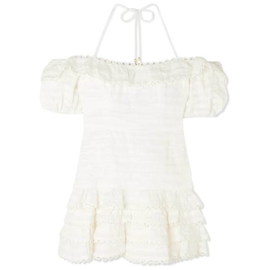 Zimmermann Allia white off-shoulder pintuck dress as seen on Rihanna