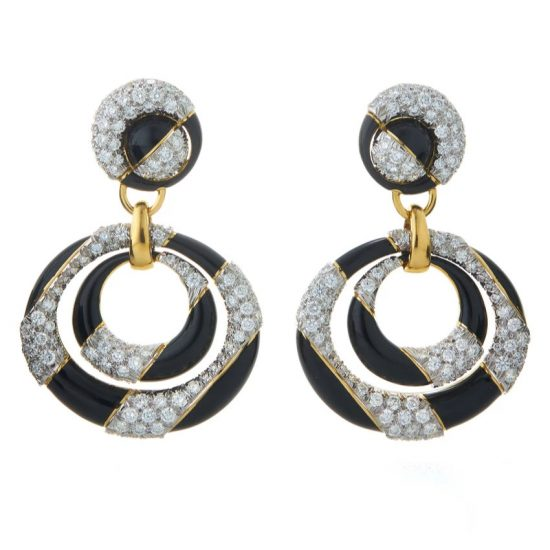 David Webb Cosmos black enamel, gold and diamond earrings as seen on Rihanna