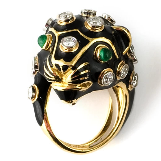 David Webb black enamel, gold, platinum and white diamond leopard ring as seen on Rihanna