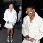 Rihanna Frankie Shop leather top white, Fenty mini skirt and Date Night pumps, Versace vintage white sunglasses, Djula slice diamond necklace, Sue Gragg gold hoop earrings, Bottega Veneta The Pouch crocodile clutch