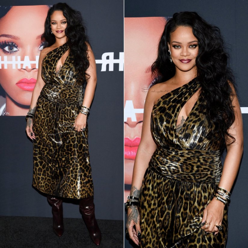 Rihanna Saint Laurent leopard dress and snakeskin boots Spring 2020 collection, David Webb black enamel and diamond rings and bracelets, Yvan Tufenkjian Sandstone diamond ring, Camilla Dietz Bergeron vintage bracelet