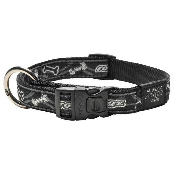 rogz Hundehalsband Fancy Dress Black Bones schwarz L (34-56cm) 20mm|M (26-40cm) 16mm|S (20-31cm) 11mm|XL (43-70cm) 25mm