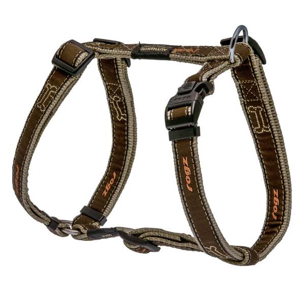 rogz Hundegeschirr Fancy Dress Bronze Bones L (45-75cm) 20mm|M (32-52cm) 16mm|S (23-37cm) 11mm|XL (60-100cm) 25mm