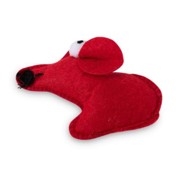 rogz Felt Red Mouse rot (12cm)