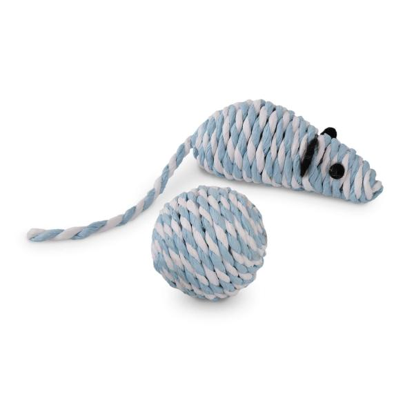 rogz Paper Rope Mouse Ball blau/weiss (12cm)