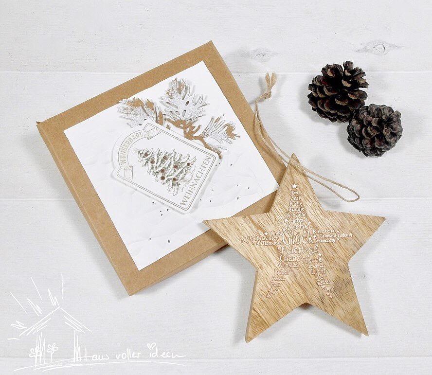 Individuelle Geschenkidee: Holzstern mit Verpackung als Gutschein- oder Geldgeschenk