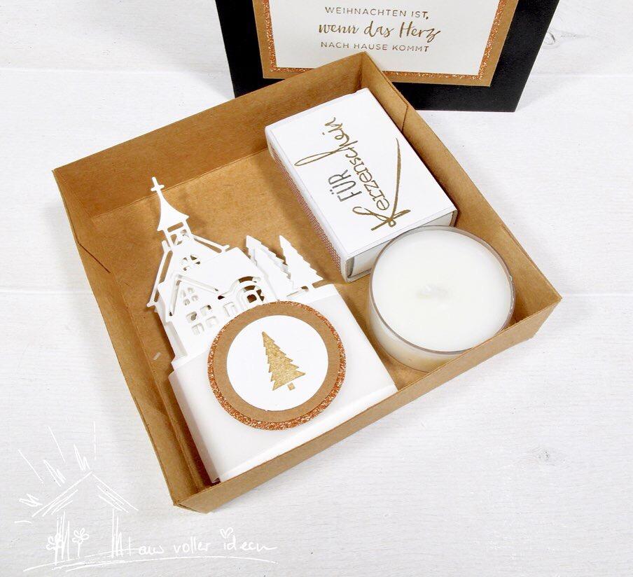Windlicht als weihnachtliches Geschenkset: Idee für ein selbstgemachtes Wichtelgeschenk