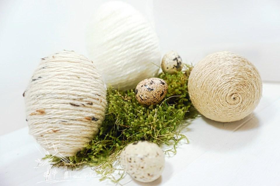 zwei Ideen, Ostereier zu gestalten: mit Wolle und Serviettentechnik. Moderne Osterdeko selbermachen