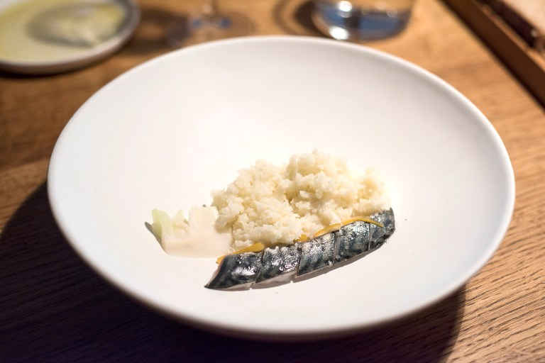 Mackerel, cauliflower and bergamot.