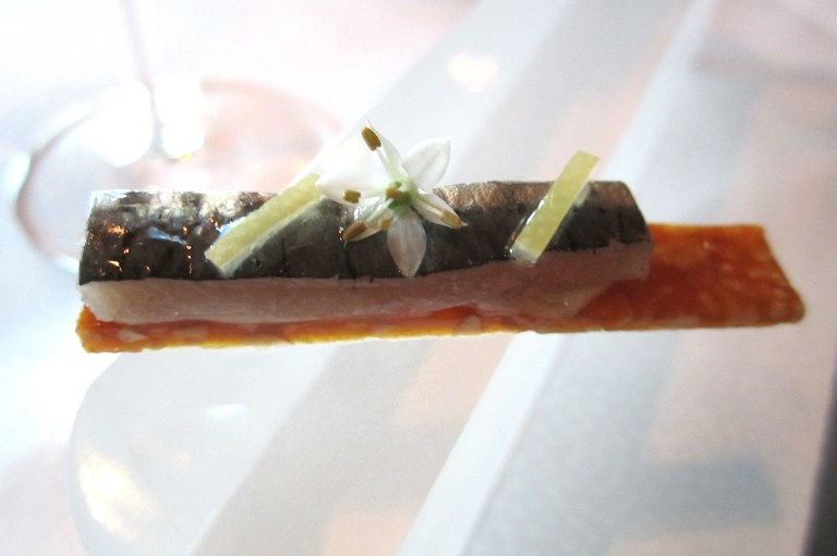 Sardine, cracker of smoked almonds & aioli