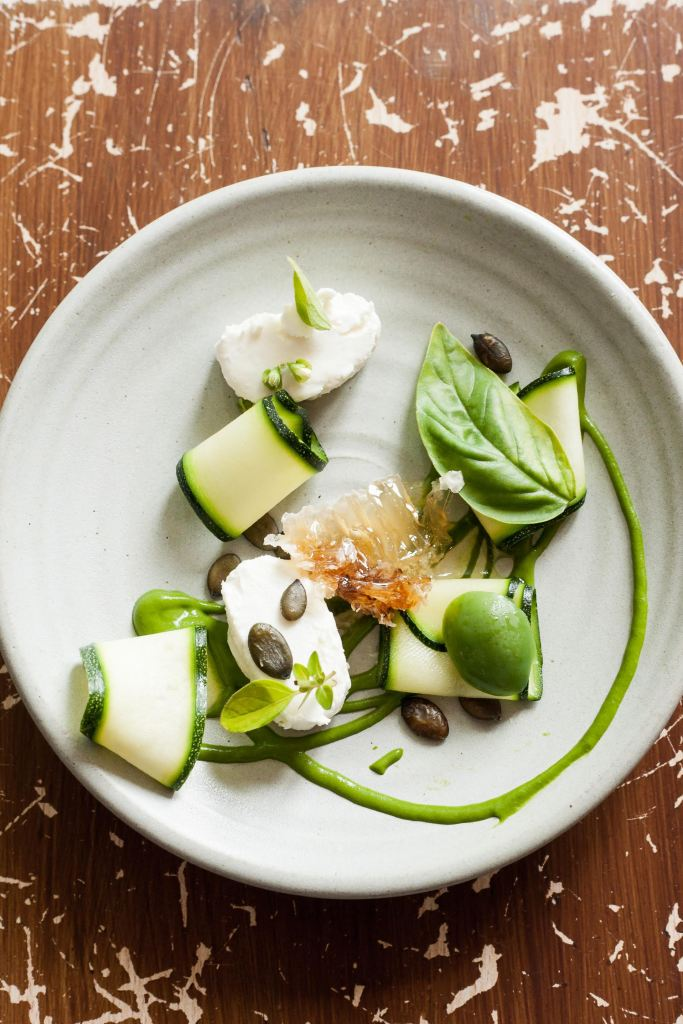 Courgette, goat's curd, basil & rooftop honey. Photo: Jonathan Thompson Photography