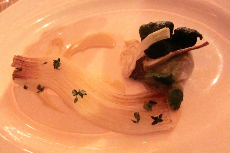 Calamari: calamari with bagna cauda sauce & artichokes textures by Mauro Colagreco