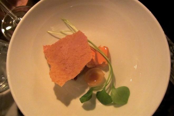 Marinated tongue with cachi paprika, alioli and cumin bread croute – chef Guido Tassi