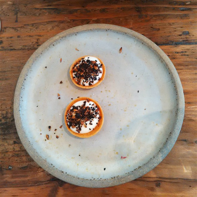 Montgomery cheddar tartelette sprinkled with crystal malt salt