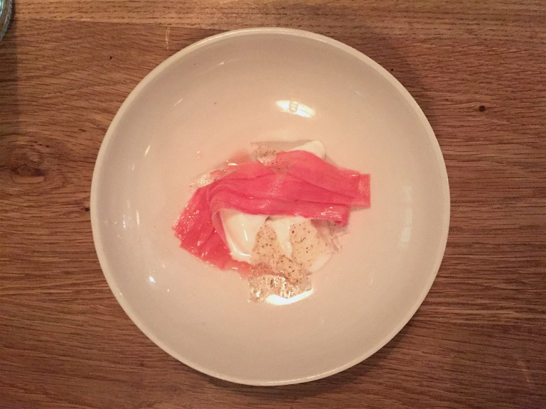 Raw goat's milk ice cream and rhubarb