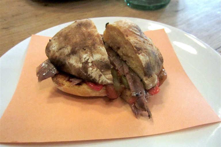 Bolo do caco with anchovies and peppers