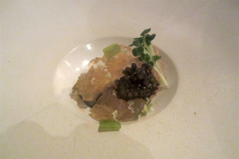 Slow Poached Oyster, Beef Jelly, Grilled Cream with Beluga Caviar