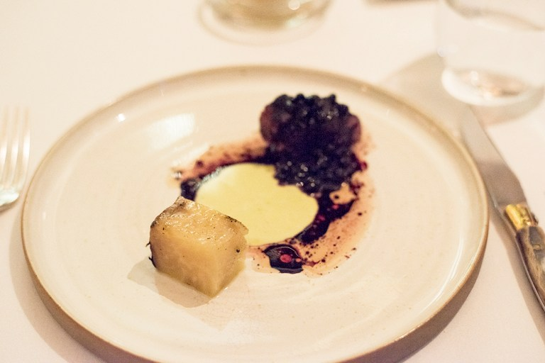 Roe deer, juniper (from Finland), salted forest blueberries and grilled celeriac - Sasu Laukkonen