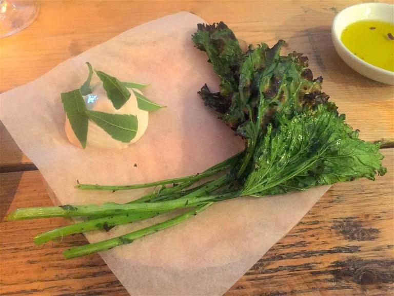 Kale and calf's brain