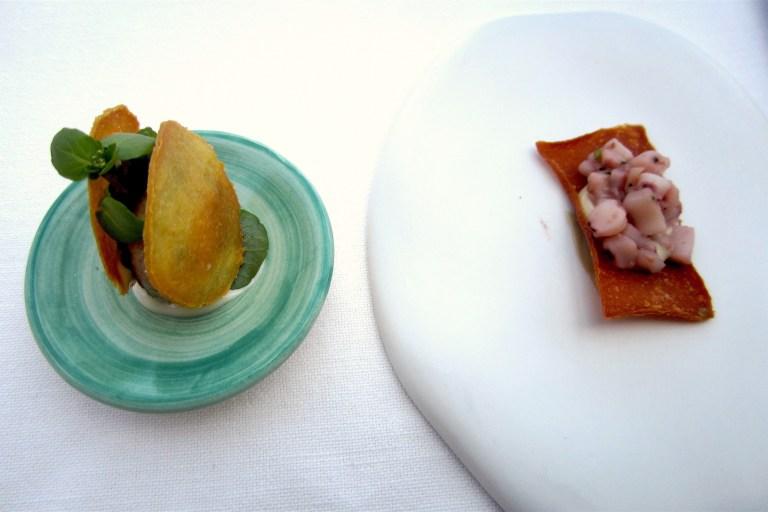 Parnsnip sandwich, chicken and horseradish croquette