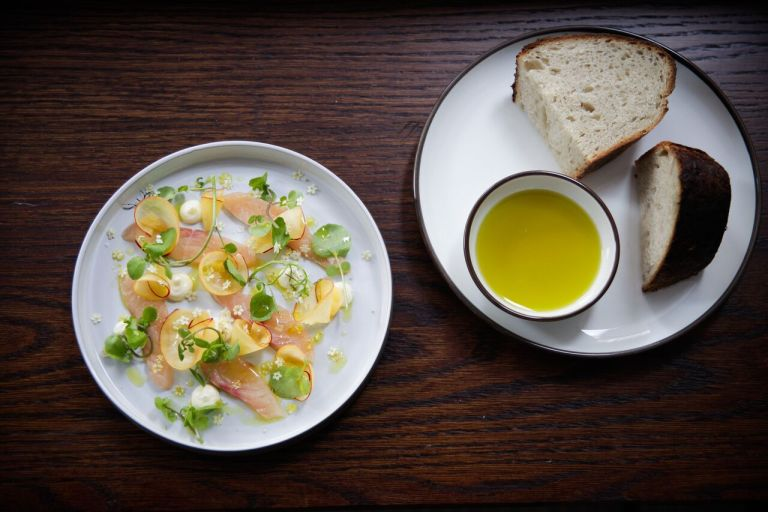 Char and bread with lemon infused olive oil. Photo: Keiko Oikawa