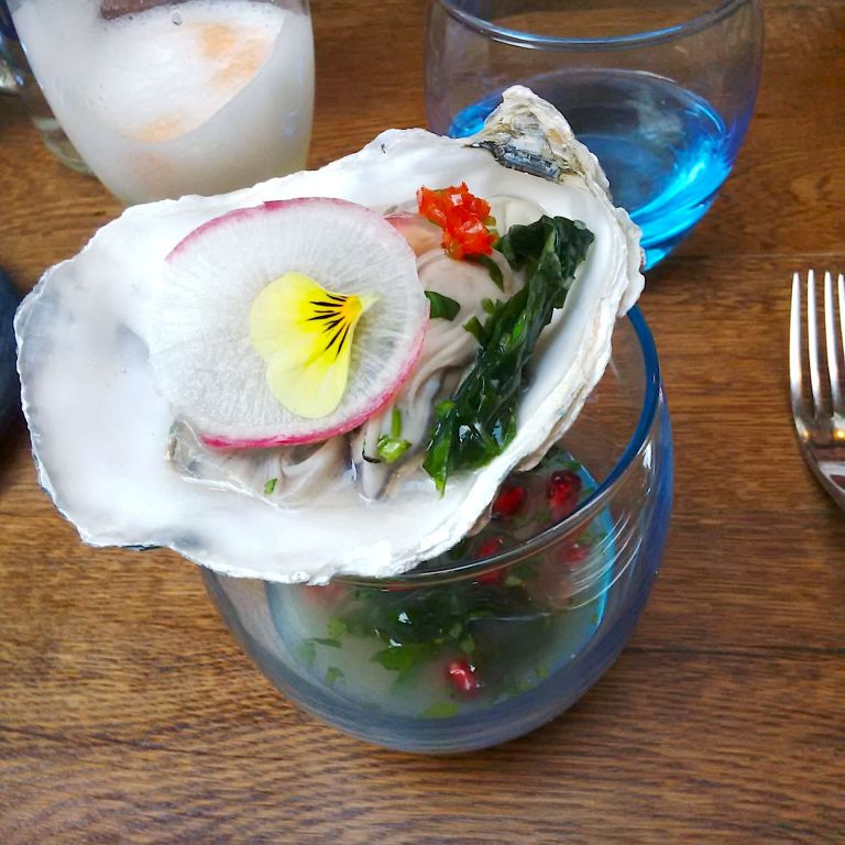 Pisco poached oyster