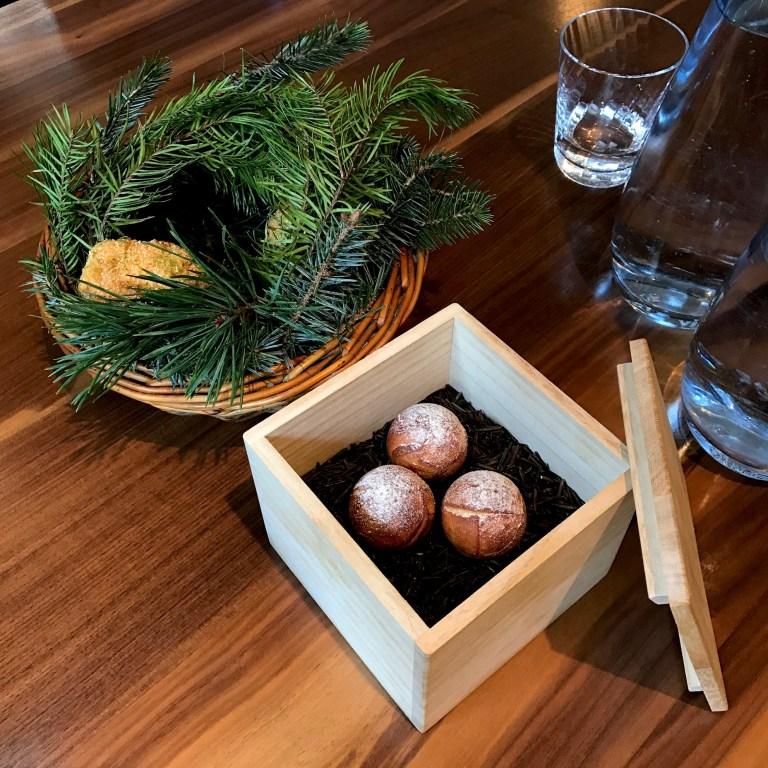Buttermilk fried chicken with pine salt; Warm haggis doughnuts