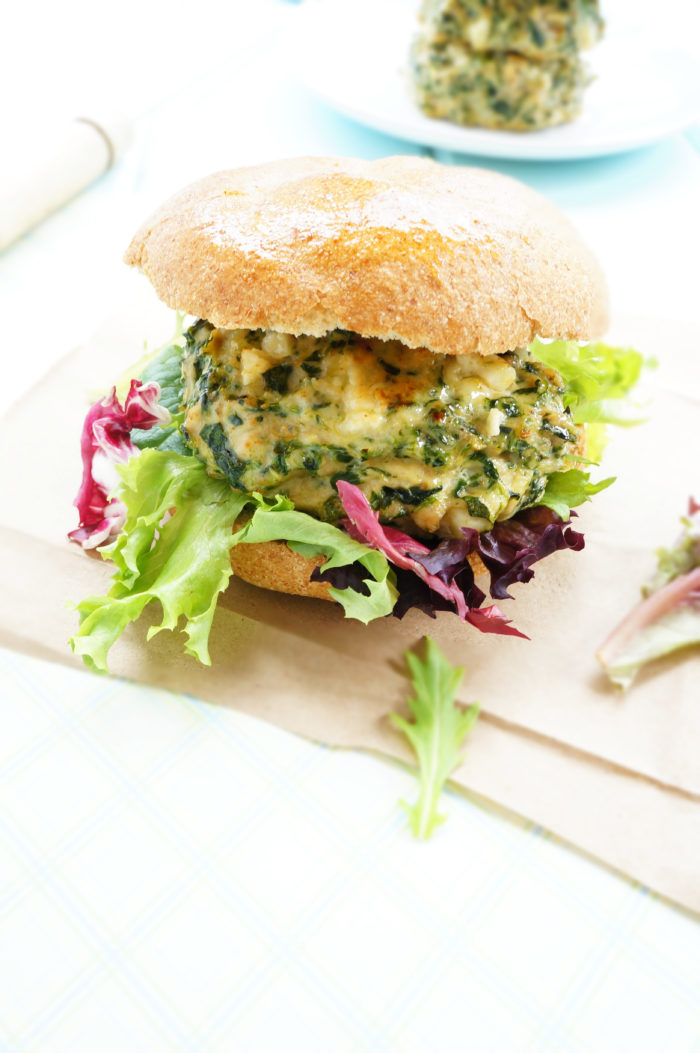 Roasted Garlic & Feta Chicken Burger
