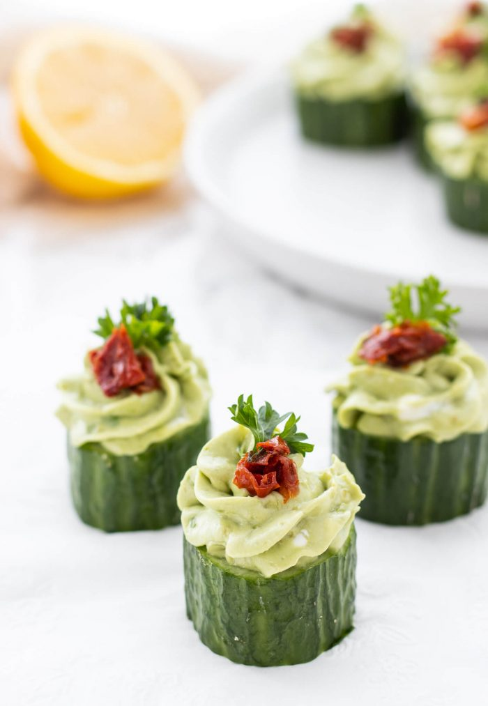 cucumber appetizers on a napkin