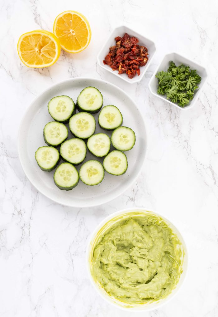 Ingredients for cucumber appetizers