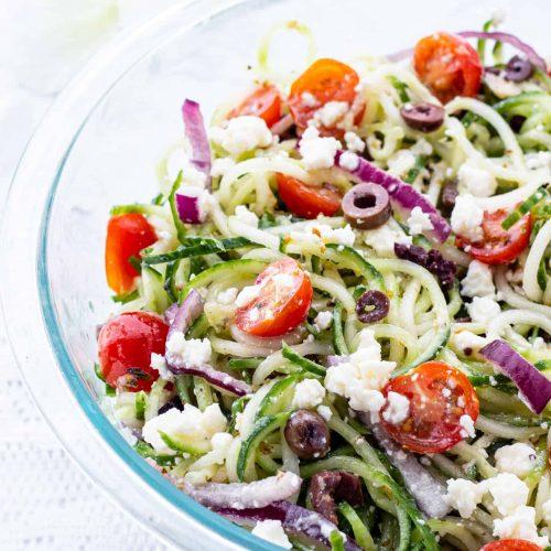 Greek cucumber salad in bowl
