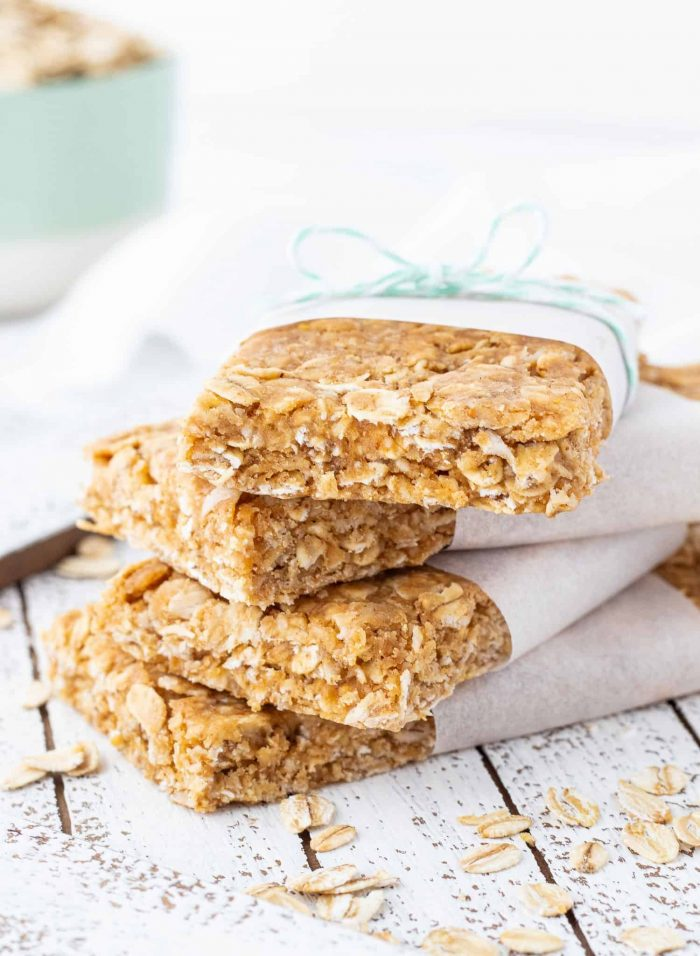 stack of no-bake peanut butter protein bars