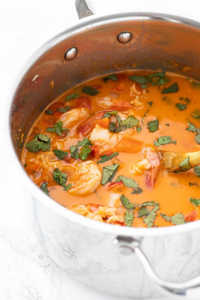 shrimp soup in saucepan
