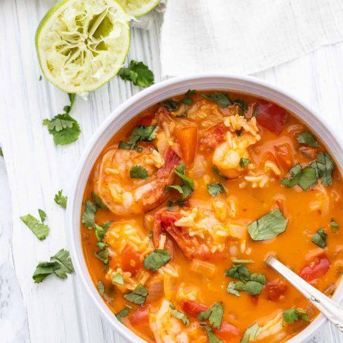 shrimp soup in bowl