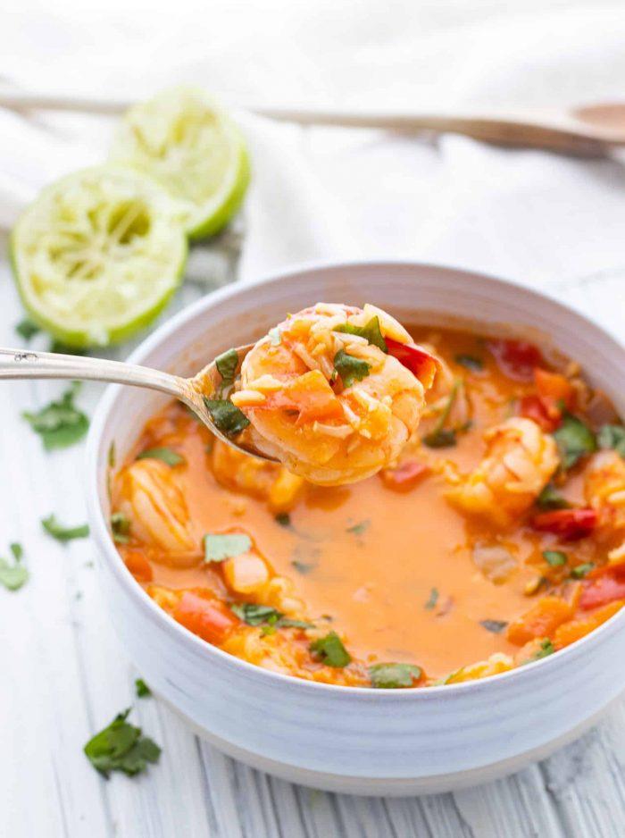 shrimp soup on spoon