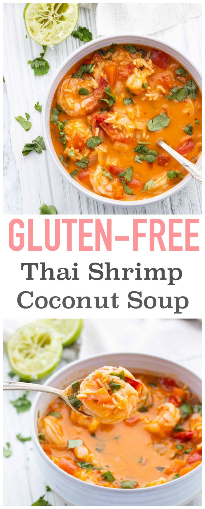 This soup is easy to make and packed full of flavour! Who needs takeout when you can make your own delicious Thai Shrimp Curry Soup? {Gluten-free & dairy-free}