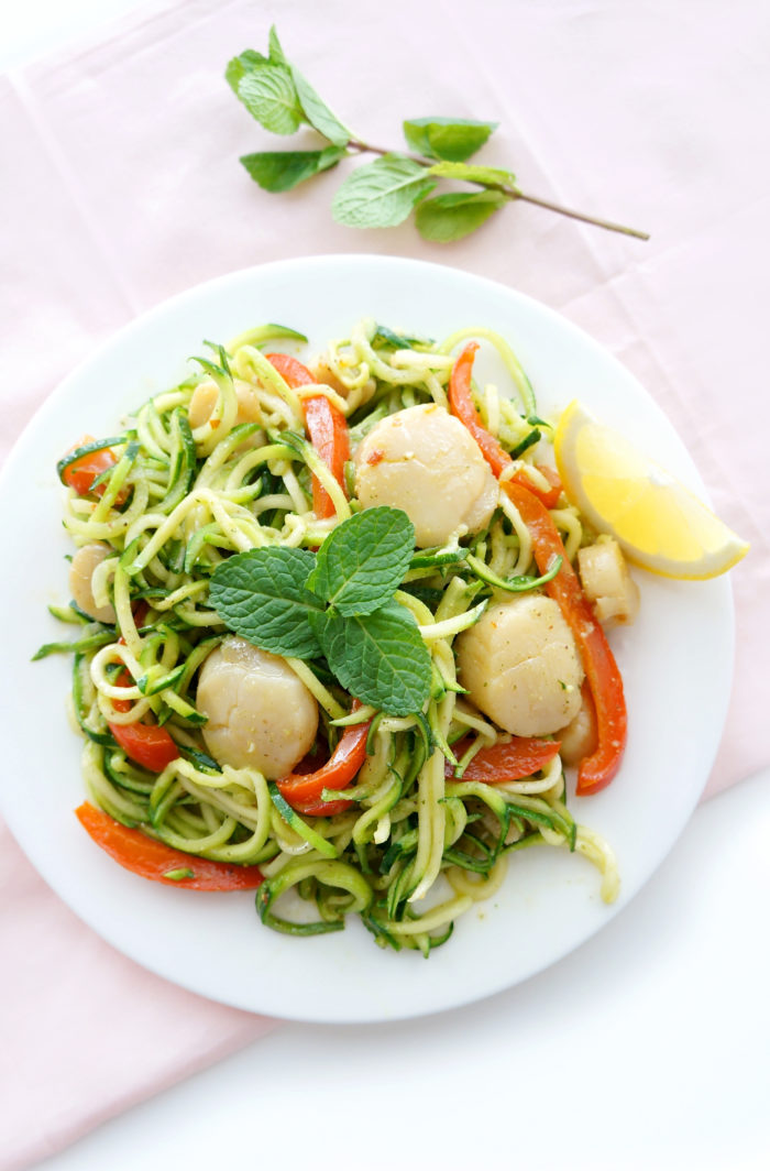 Scallops with Zucchini Noodles & Pistachio Mint Pesto