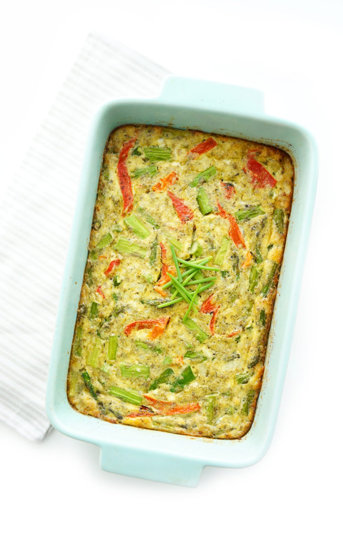 Pesto Asparagus Crustless Quiche