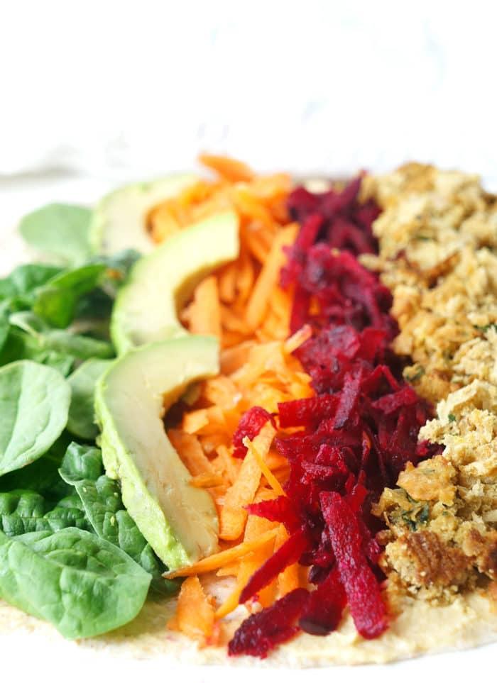 Vegan Rainbow Falafel Wrap