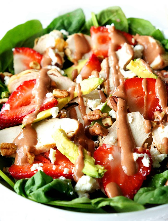 Close up of salad in a bowl with dressing