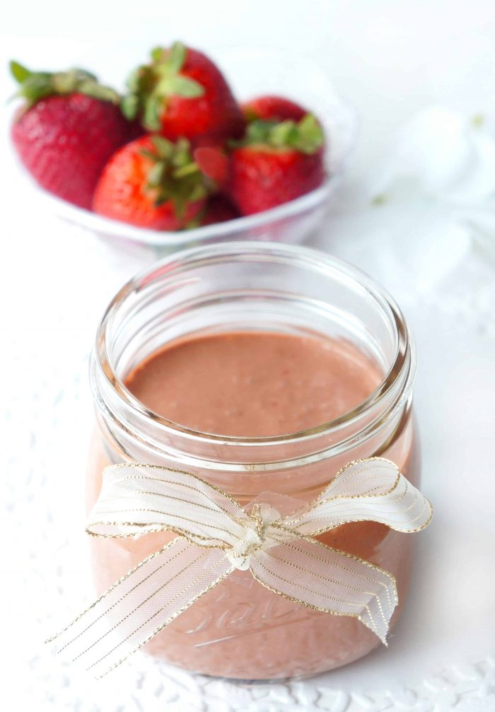 Strawberry salad dressing in a jar