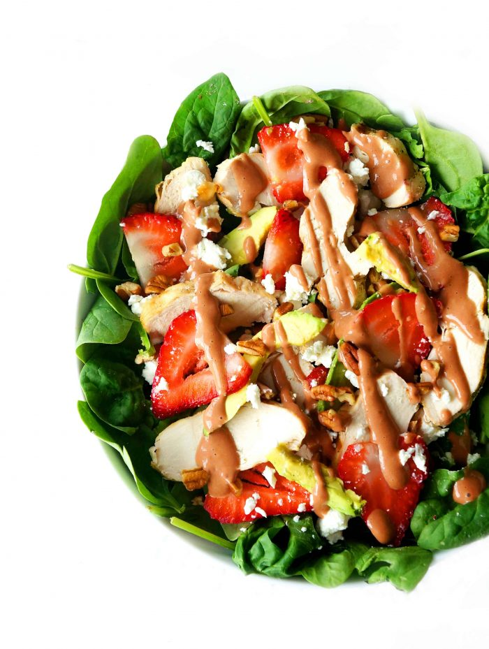 Salad in a bowl with dressing