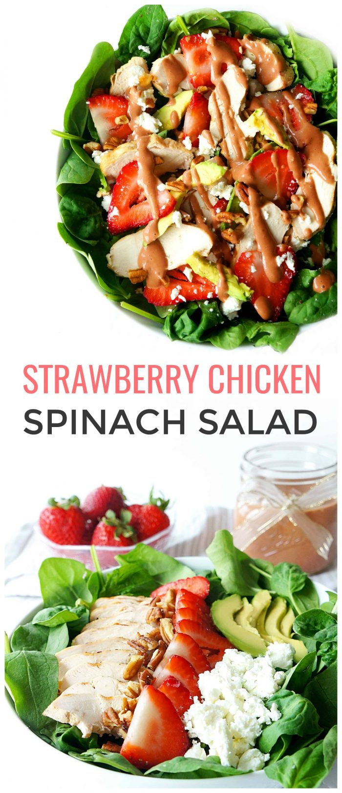 This strawberry spinach salad is a light, healthy and filling salad that's packed with refreshing flavours and nutrients and gets a boost of protein from the grilled chicken! The strawberry salad dressing is super refreshing and the perfect way to make use of the seasonal produce this summer. {Gluten-free}