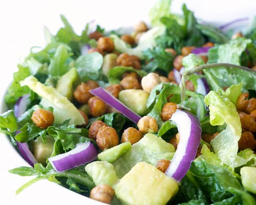 Vegan Caesar Salad with Roasted Sriracha Chickpeas