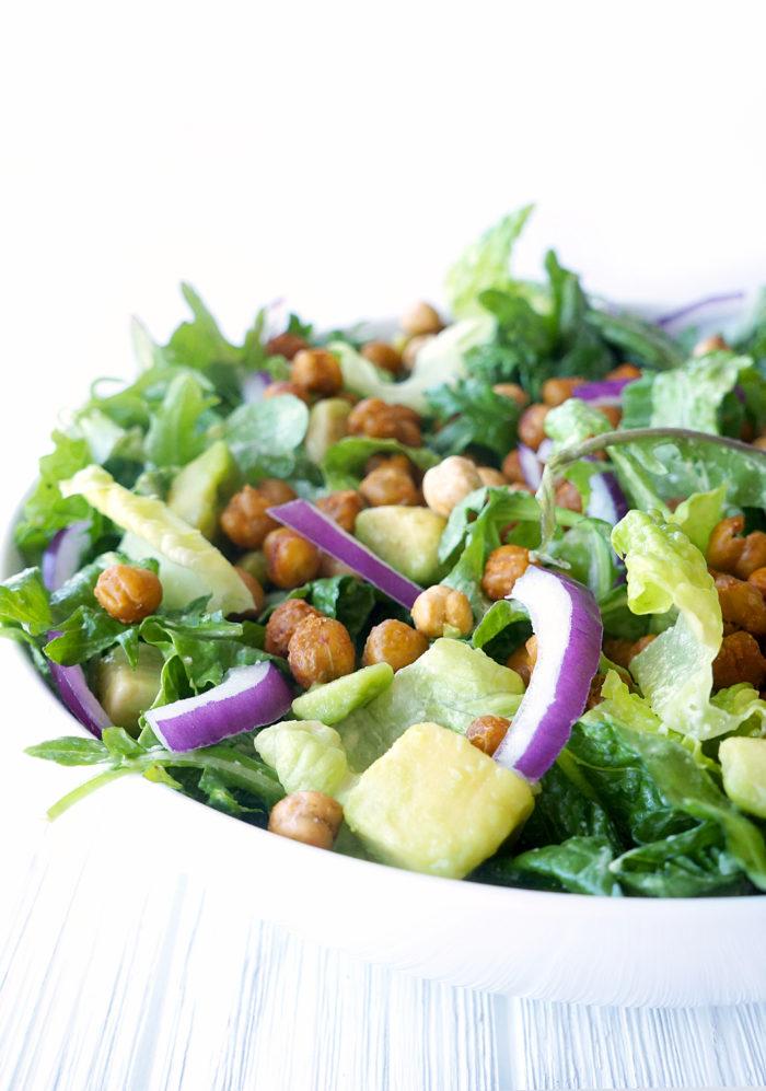 Vegan Caesar Salad with Roasted Sriracha Chickpeas